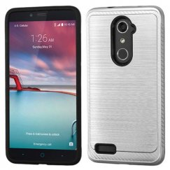 ZTE Grand X Max 2 Silver/Black Brushed Hybrid Case with Carbon Fiber Accent