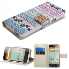 Alcatel One Touch Elevate Jumping Fishes Diamante Wallet with Diamante Belt