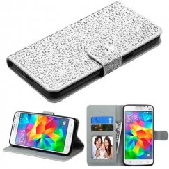 Samsung Galaxy Grand Prime Silver Diamante Wallet