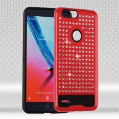 ZTE Blade Z Max / Sequoia Z982 Red/Black Diamante FullStar Case