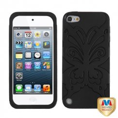 Apple iPod Touch (5th Generation) Rubberized Black/Black Butterflykiss Hybrid Case