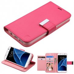 Samsung Galaxy S7 Hot Pink/Pink PU Leather Wallet with extra card slots