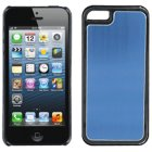 Apple iPhone 5 Luxury Satin Metal Case, Black with Blue Vertical Satin Metal Back