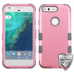 Google Pixel XL Rubberized Pearl Pink/Iron Gray Hybrid Case - Military Grade