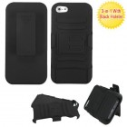Apple iPhone 5/5s Black/Black Advanced Armor Stand Protector Cover (With Black Holster)