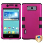 LG Splendor / Venice Titanium Solid Hot Pink/Black Hybrid Case