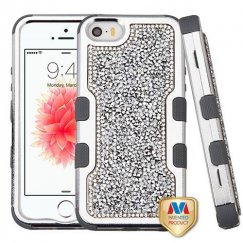 Apple iPhone SE Silver Plating Frame Mini Crystals Back/Iron Gray Vivid Hybrid Case