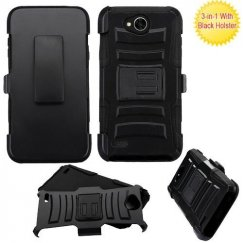 LG X Power 2 Black/Black Advanced Armor Stand Case with Black Holster