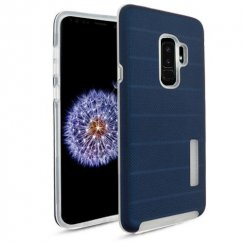 Samsung Galaxy S9 Plus Ink Blue Dots Textured/Transparent Clear Fusion Case