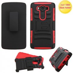 LG V10 Black/Red Advanced Armor Stand Case with Black Holster