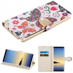 Samsung Galaxy Note 8 Butterfly Wonderland Diamante Wallet with Diamante Belt