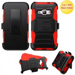 Samsung Galaxy J1 Black/Red Advanced Armor Stand Case with Black Holster
