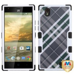 ZTE Warp Elite Forest Green/Gray Diagonal Plaid/Black Hybrid Case