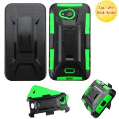 Kyocera Wave / Hydro Air Black/Green Advanced Armor Stand Case with Black Holster