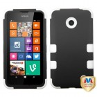 Nokia Lumia 635 Rubberized Black/Solid White Hybrid Phone Protector Cover