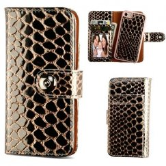Apple iPhone 7 Rose Gold Glossy Crocodile Skin Magnetic 2-in-1 Wallet TPU Case Leather Folio
