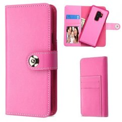 Samsung Galaxy S9 Plus Hot Pink Detachable Magnetic 2-in-1 Wallet (PC Case + Leather Folio)(PR232)