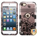 Apple iPod Touch (6th Generation) Black Lace Flowers 2D Rose Gold/Black Hybrid Case