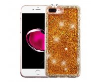 Apple iPhone 7 Plus Gold Quicksand (Stars) Glitter Hybrid Protector Cover (with Diamonds)