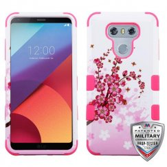 LG G6 Spring Flowers/Electric Pink Hybrid Case Military Grade
