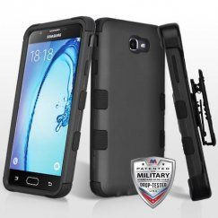 Samsung Galaxy On7 Rubberized Black/Black Hybrid Case Military Grade with Black Horizontal Holster