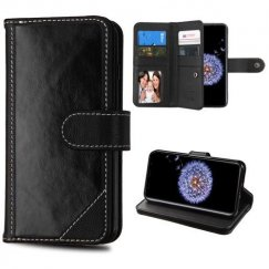 Samsung Galaxy S9 Plus Black Genuine Leather Wallet (with Button Closure)(PR011) -WP