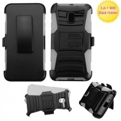 Alcatel Stellar / Tru 5065 Black/Gray Advanced Armor Stand Case with Black Holster