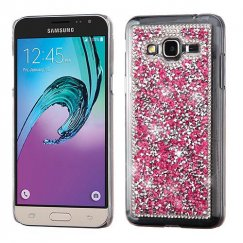 Samsung Galaxy J3 Hot Pink Mini Crystals Rhinestones Desire Back Case