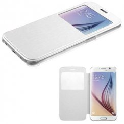 Samsung Galaxy S6 White Silk Texture Wallet with Transparent Frosted Tray