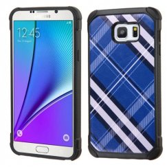 Samsung Galaxy Note 5 Blue Diagonal Plaid/Black Astronoot Case