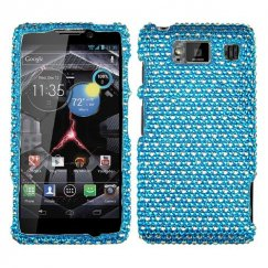 Motorola Droid RAZR HD Dots(Blue/white) Diamante Case