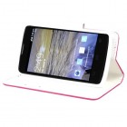 ZTE Uhura N817 Hot Pink Pattern/White Liner wallet with Card Slot
