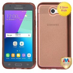 Samsung Galaxy J3 Transparent Rose Gold Sheer Glitter Premium Candy Skin Cover