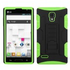 LG Optimus L9 Black/Electric Green Car Armor Stand Case - Rubberized
