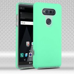 LG V20 Teal Green Dots Textured/Transparent Clear Fusion Case