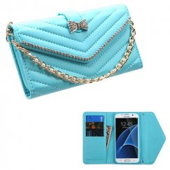 Samsung Galaxy S7 Edge Baby Blue Premium Quilted Wallet with Bracelet
