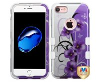Twilight Petunias (2D Silver)/Solid White Hybrid Phone Protector Cover