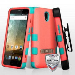 ZTE Prestige 2 Natural Baby Red/Tropical Teal Hybrid Case with Stand Military Grade with Black Horizontal Holster