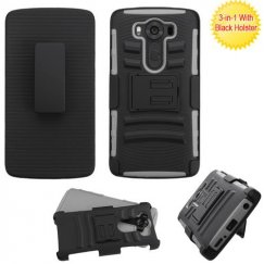 LG V10 Black/Gray Advanced Armor Stand Case with Black Holster