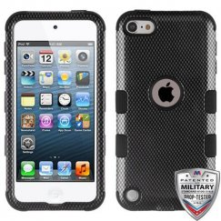 Apple iPod Touch (6th Generation) Carbon Fiber/Black Hybrid Case Military Grade
