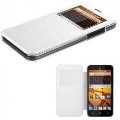 ZTE Speed White Silk Texture Wallet with Transparent Frosted Tray