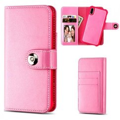 Apple iPhone X Hot Pink Detachable Magnetic 2-in-1 Wallet (TPU Case Leather Folio)