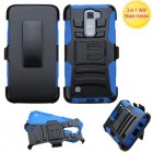 LG K7 Black/ Blue Advanced Armor Stand Case with Black Holster