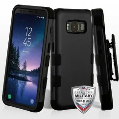 Samsung Galaxy S8 Active Rubberized Black/Black Hybrid Case Military Grade with Black Horizontal Holster