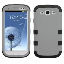 Samsung Galaxy S3 Rubberized Gray/Black Hybrid Case