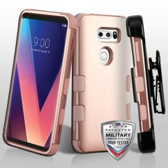 LG V30 Rose Gold/Rose Gold Hybrid Case Military Grade with Black Horizontal Holster