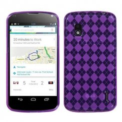 LG Nexus 4 Purple Argyle Candy Skin Cover