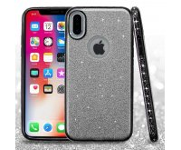 Apple iPhone X Silver Full Glitter Hybrid Protector Cover (with Electroplating Black & Diamonds Frame)