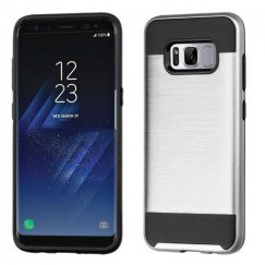Samsung Galaxy S8 Silver/Black Brushed Hybrid Case