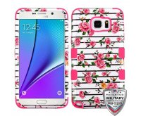 Samsung Galaxy Note 5 Pink Fresh Roses/Electric Pink Hybrid Phone Protector Cover [Military-Grade Certified]
